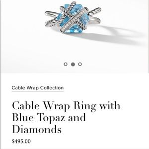 NWT David Yurman Cable Wrap Ring Blue Topaz